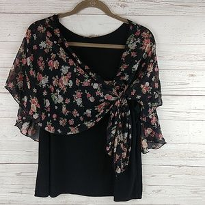 Libian black with floral overlay top L-XL